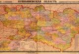Административная карта Куйбышевской области. 1936-1949 год.